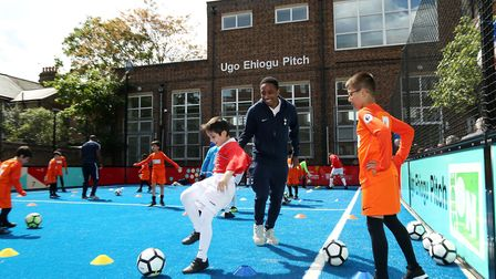 Kyle Walker-Peters of Tottenham Hotspur attends the opening of the Ugo Ehiogu Mini Pitch at Seven Si