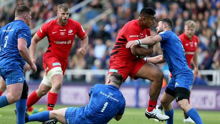 Saracens Will Skelton powers forward during the Champions Cup Final at St James' Park, Newcastle.