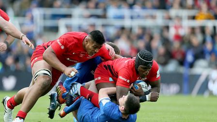 Saracens Will Skelton and Maro Itoje power forward during the Champions Cup Final at St James' Park,