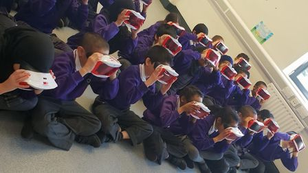Children at the Olive School taking part in the virtual reality anti-bullying workshop.