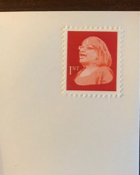 The fake stamp with Diane Abbott's face on it.