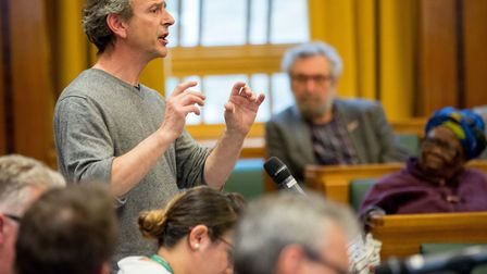 Dr Nick Mann speaking at Heathwatch Hackney's public meeting about the future of the NHS. Picture: M