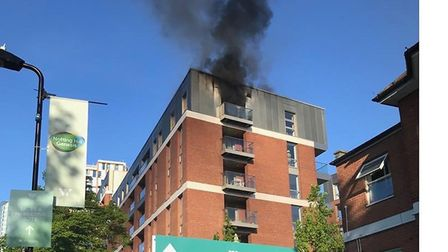 The blaze broke out in a block of flats in Coster Avenue, Manor House. Picture: @999London
