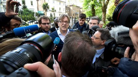 Guy Verhofstadt, leader of the Alliance of Liberals and Democrats for Europe arrives in Camden Squar
