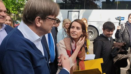 Guy Verhofstadt speaks to Luisa Porritt on the campaign trail. Picture: Harry Taylor