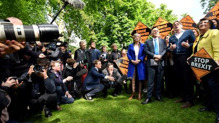 Vince Cable MP, Guy Verhofstadt and LibDem MEP Catherine Bearder with LD European election candidate