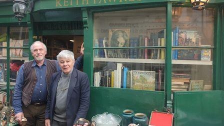 Matt Townsend and Keith Fawkes, outside Keith's shop in Flask Walk. Picture: Harry Taylor