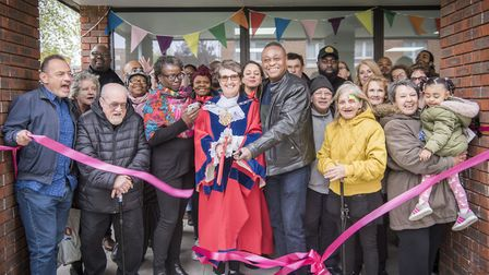 Speaker Cllr Clare Potter cuts the ribbon at the new hall. Picture: Sean Pollock