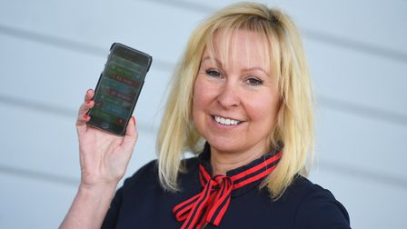 Suffolk Show director Bee Kemball with the new show app Picture: GREGG BROWN