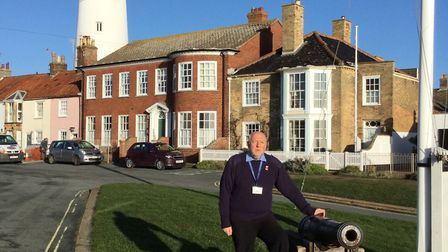 Chris Cardwell pictured in front of Southwold Lighthouse. Picture: Blind Veterans UK.