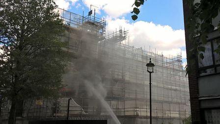 Firefighters tackle a fire at an apartment block in Primrose Hill. Picture: London Fire