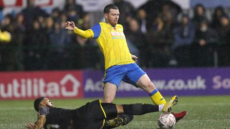Michael O'Donohue in action for Haringey Borough against AFC Wimbledon in the FA Cup first round (pi