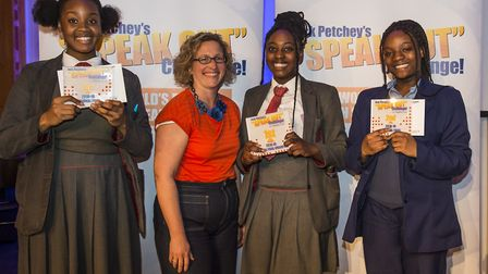 The three finalists in the Jack Petchey Speak Out competition: Fathia Amushan, Mateenah Adeleke and