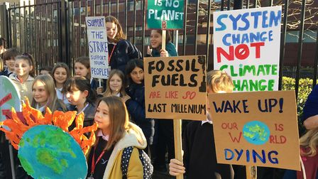 Pupils from Stoke Newington School joined the national school strike against climate change in Febru