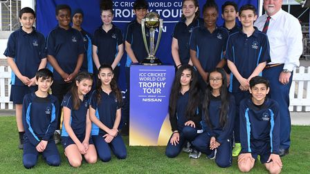 Paddington Academy pupils with Mike Gatting and the ICC Cricket World Cup (pic Matt Bright)