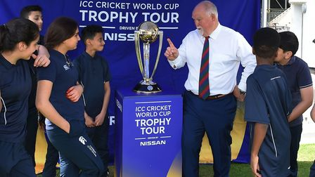 King Solomon Academy pupils with Mike Gatting and the ICC Cricket World Cup trophy (pic Matt Bright)