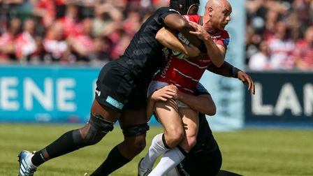 Gloucester Rugby's Willi Heinz and Saracen's Maro Itoje during the Gallagher Premiership, Semi-final