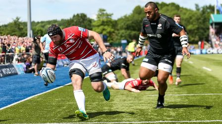 Gloucester Rugby's Ben Morgan scores their first try during the Gallagher Premiership, Semi-final ma