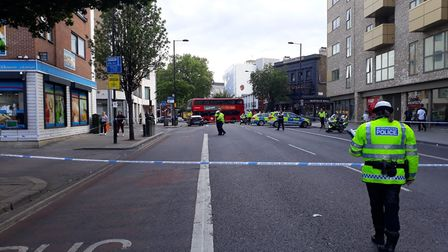 Police at the scene of the crash in Mare Street. Picture: Ramzy Alwakeel