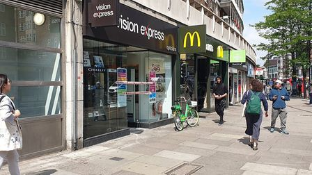 Vision Express in Swiss Cottage, where the break-in took place this morning. Picture: Met Police