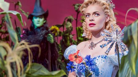Alice Fearn as Elphaba and Sophie Evans as Glinda in Wicked at the Apollo Victoria Theatre Picture M