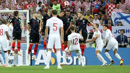 England's Kieran Trippier scores his side's first goal of the game during the World Cup, semi-final