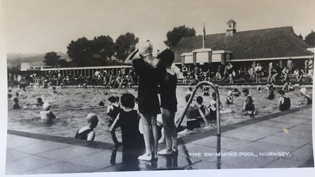 A historic postcard featuring the Park Road Lido. Picture: Hornsey Historical Society