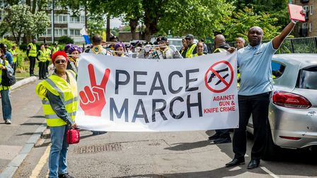 Hackney Seventh Day Adventist Church's peace march against gun and knife crime on Monday. Picture: A
