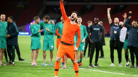 Tottenham Hotspur goalkeeper Hugo Lloris celebrates after the final whistle of the Champions League