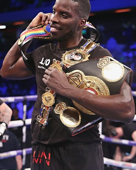 Lawrence Okolie celebrates his win over Wadi Camacho (pic Natalie Mayhew, Butterfly Boxing)