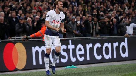 Tottenham Hotspur's Harry Kane celebrates scoring his side's second goal of the game during the Cham