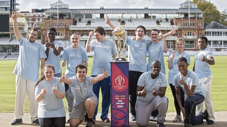 Members from Hackney Super 1s pose with the Cricket World Cup at Lord's, London. Picture: Lords Tave