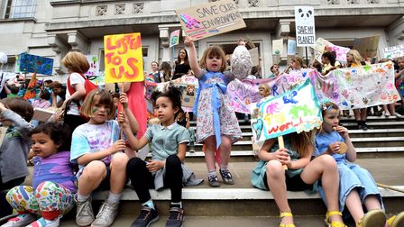 Children from Hackney demonstrate for action against climate change on the steps of Hackney town hal