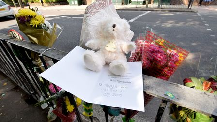 A teddy and card left on the barrier to the pedestrian crossing on East End Rd N2 on 23.05.19. Pictu