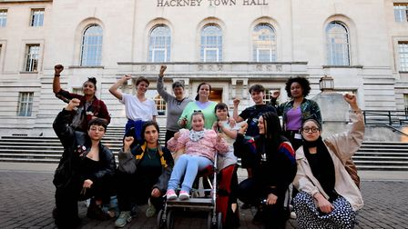 Sisters Uncut outside Hackney Town Hall with Marian Court resident Margaret Mongan and family who st