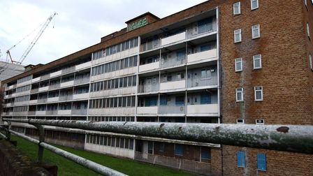 Most of the flats in Marian Court are now boarded up and empty. Picture: Polly Hancock