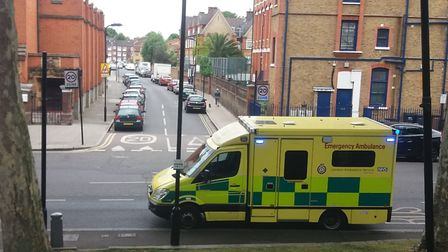 An ambulance in South Hackney after a dog bit a young child. Picture: Laurie Churchman
