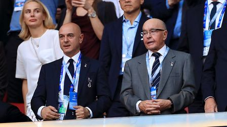 Tottenham Hotspur owner Daniel Levy and Joe Lewis in the stands during the Champions League Final ag