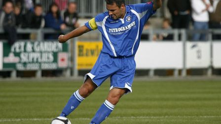 Lowestoft's Jamie Godbold in action during the FA Cup 2nd Qualifying Round match at Princes Park, Da