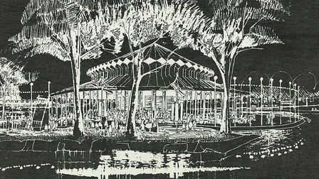 An artist�s impression of Tivoli Gardens at Lea Bridge.