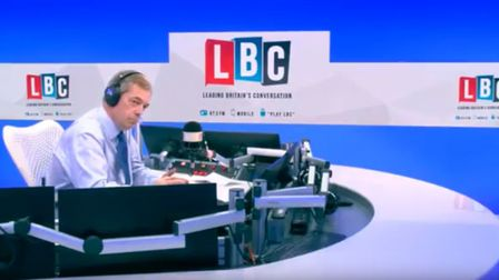 Nigel Farage discusses Theresa May's latest Brexit plan on LBC Radio. (Photograph: Global)