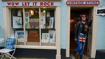 Tina Crisp outside the Wow Vintage shop in Southwold. Picture: Courtesy of Michaela Denny