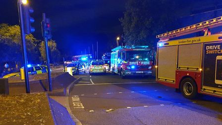 Emergency services at the scene of the fire in Kenninghall Road. Picture: @MPSHackney