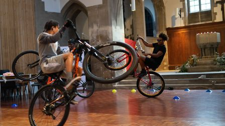Ryan Taylor and Jake 100 visited St Mary of Eton Church in Hackney Wick for the Bikes Up Knives Down