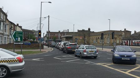 There is heavy traffic in Lowestoft town centre after a vehicle low-loader got stuck. Picture: Thoma