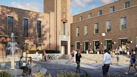An artistic impression of how the completed Hornsey Town Hall redevelopment will look. Picture: Far