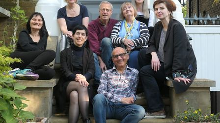 The 2019 group of artists on the steps of Space 36 in Crouch End