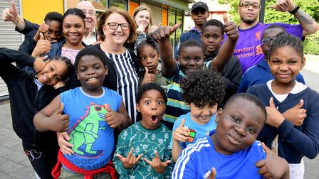 Civic Award winner Nicolette Nixon, with children at Morningside Community Centre. Picture: POLLY HA