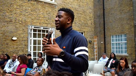 The Voice winner Jermain Jackman asks a question at the launch of UK Black Pride at Hackney Town Hal