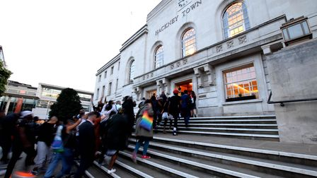 Organisers and supporters UK Black Pride are filmed as they walk into Hackney Town Hall, and the cli